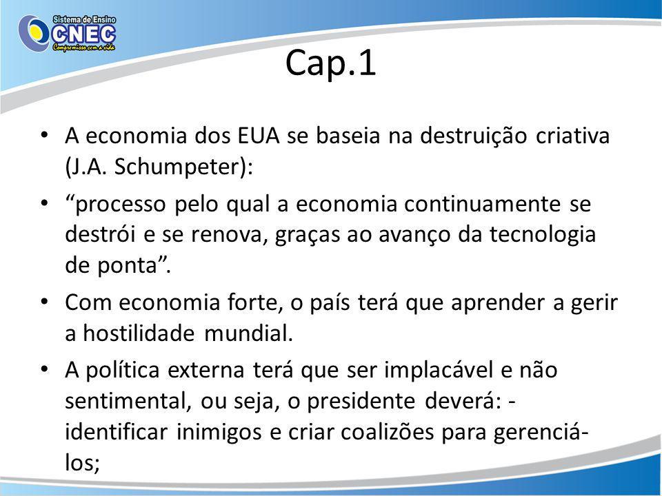 Cap.1 A economia dos EUA se baseia na destruição criativa (J.A. Schumpeter): processo pelo qual a economia continuamente se destrói e se renova, graça