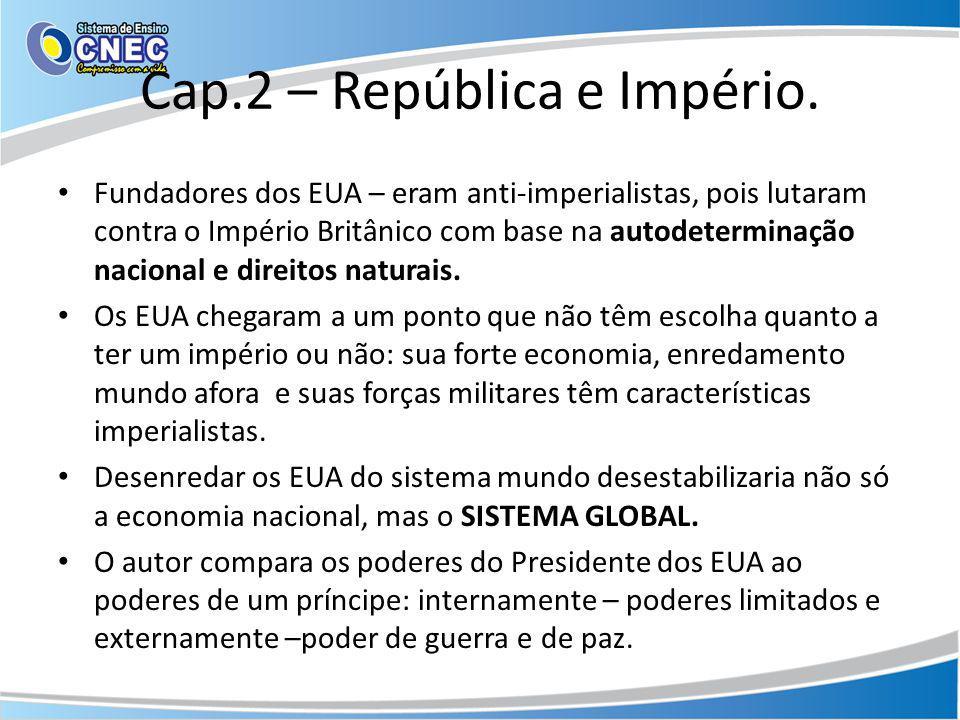 Cap.2 – República e Império. Fundadores dos EUA – eram anti-imperialistas, pois lutaram contra o Império Britânico com base na autodeterminação nacion
