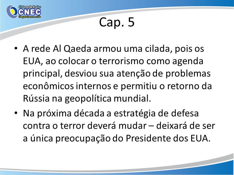 Cap. 5 A rede Al Qaeda armou uma cilada, pois os EUA, ao colocar o terrorismo como agenda principal, desviou sua atenção de problemas econômicos inter
