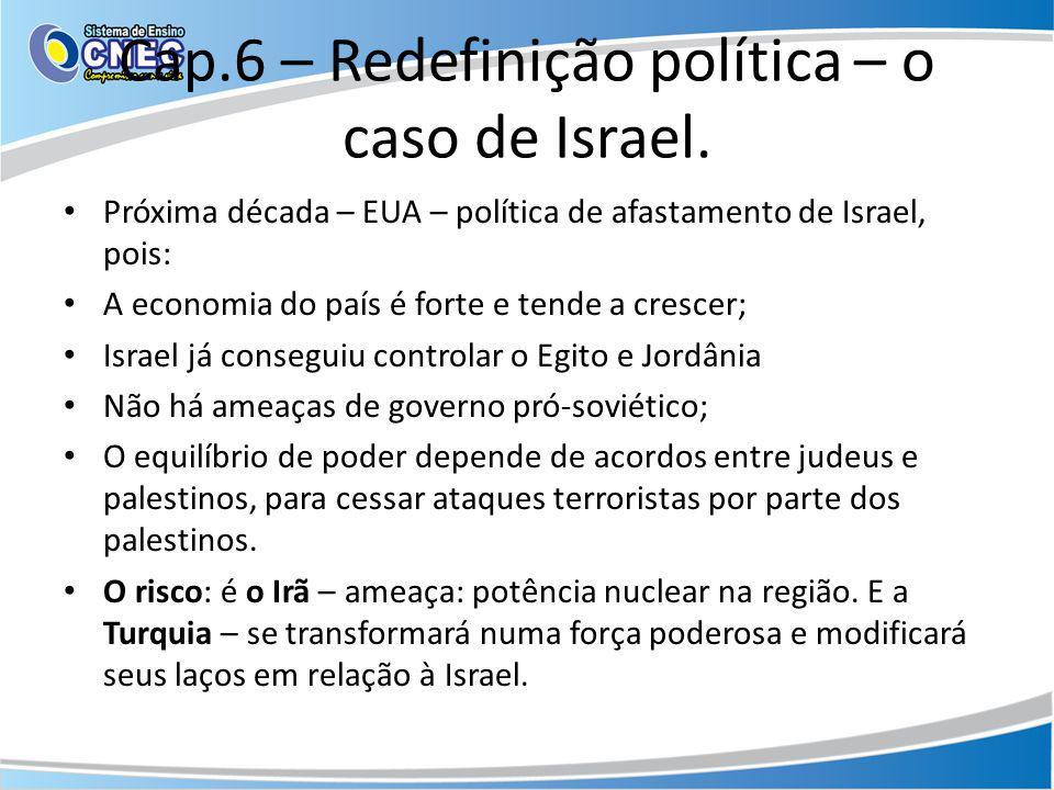 Cap.6 – Redefinição política – o caso de Israel. Próxima década – EUA – política de afastamento de Israel, pois: A economia do país é forte e tende a