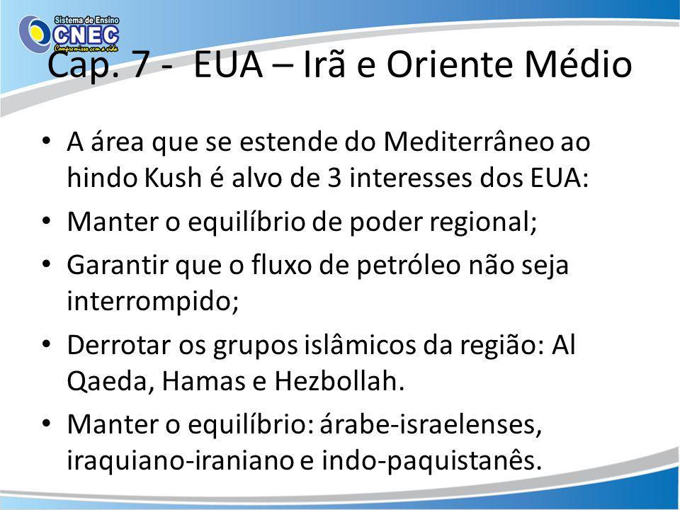 Cap. 7 - EUA – Irã e Oriente Médio A área que se estende do Mediterrâneo ao hindo Kush é alvo de 3 interesses dos EUA: Manter o equilíbrio de poder re