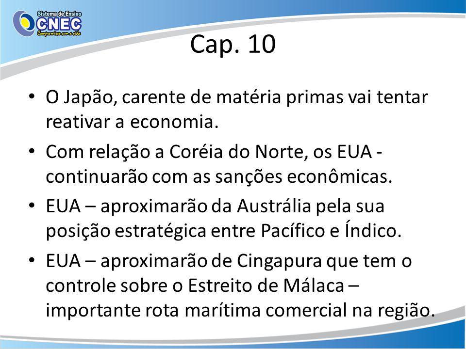 Cap. 10 O Japão, carente de matéria primas vai tentar reativar a economia. Com relação a Coréia do Norte, os EUA - continuarão com as sanções econômic