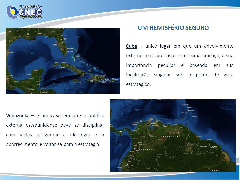 UM HEMISFÉRIO SEGURO Cuba – único lugar em que um envolvimento externo tem sido visto como uma ameaça, e sua importância peculiar é baseada em sua loc