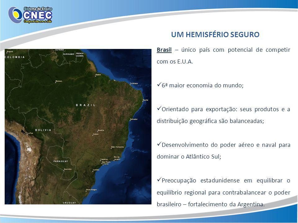 UM HEMISFÉRIO SEGURO Brasil – único país com potencial de competir com os E.U.A. 6ª maior economia do mundo; Orientado para exportação: seus produtos
