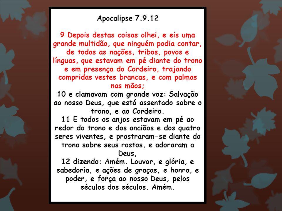 Apocalipse 7.9.12 9 Depois destas coisas olhei, e eis uma grande multidão, que ninguém podia contar, de todas as nações, tribos, povos e línguas, que