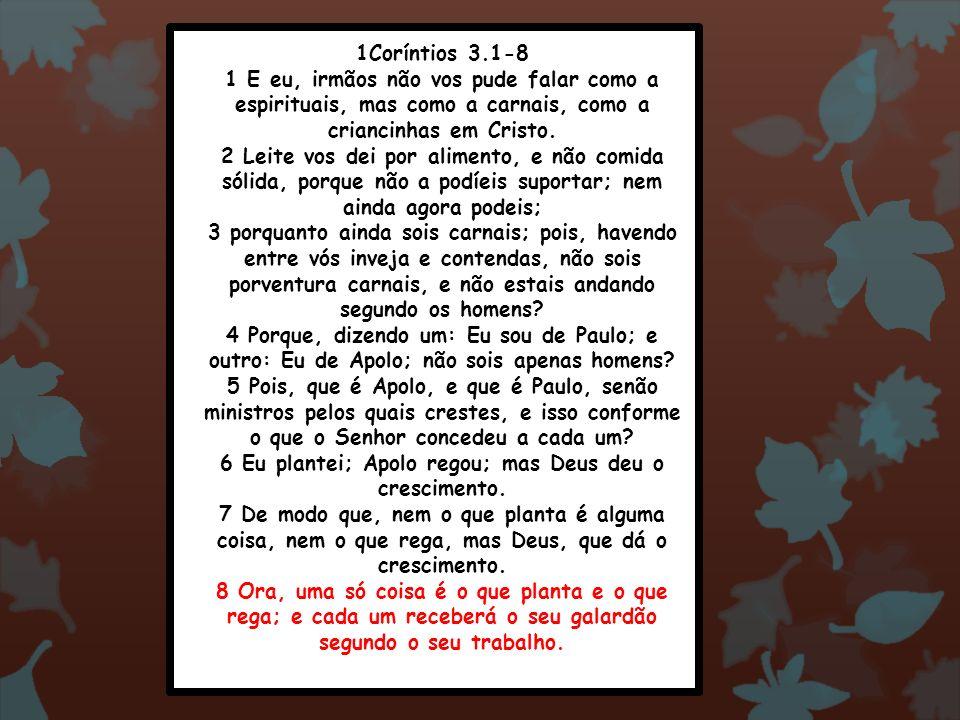 1Coríntios 3.1-8 1 E eu, irmãos não vos pude falar como a espirituais, mas como a carnais, como a criancinhas em Cristo. 2 Leite vos dei por alimento,