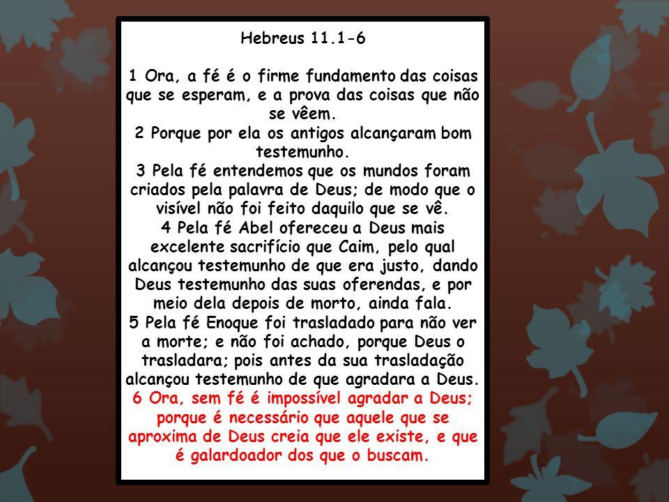 Hebreus 11.1-6 1 Ora, a fé é o firme fundamento das coisas que se esperam, e a prova das coisas que não se vêem. 2 Porque por ela os antigos alcançara