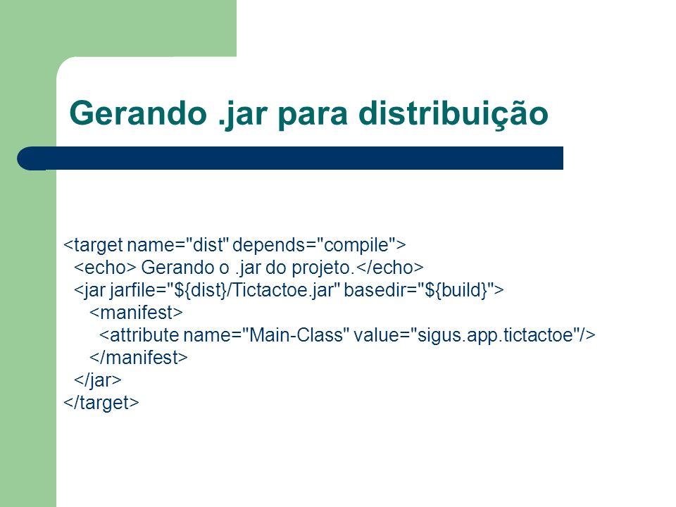 Gerando.jar para distribuição Gerando o.jar do projeto.