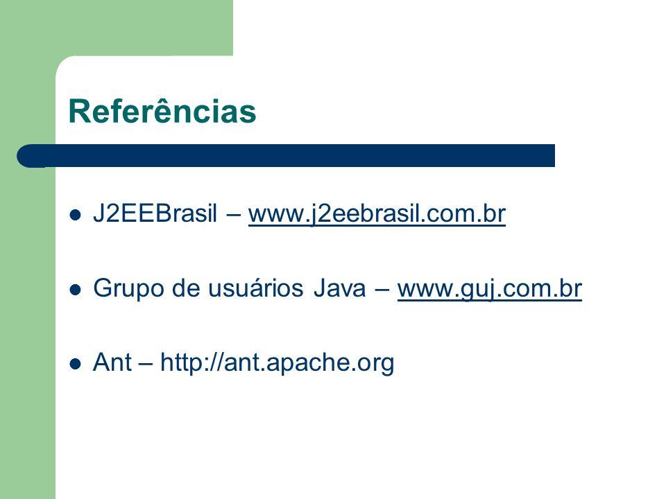 Referências J2EEBrasil – www.j2eebrasil.com.brwww.j2eebrasil.com.br Grupo de usuários Java – www.guj.com.brwww.guj.com.br Ant – http://ant.apache.org