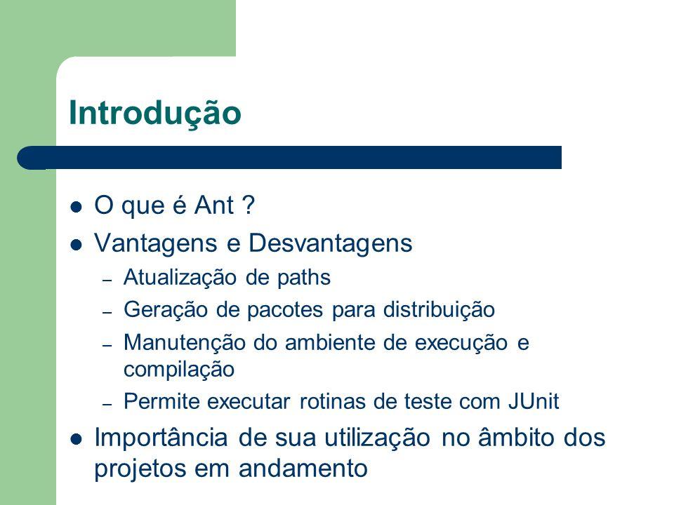Introdução O que é Ant ? Vantagens e Desvantagens – Atualização de paths – Geração de pacotes para distribuição – Manutenção do ambiente de execução e