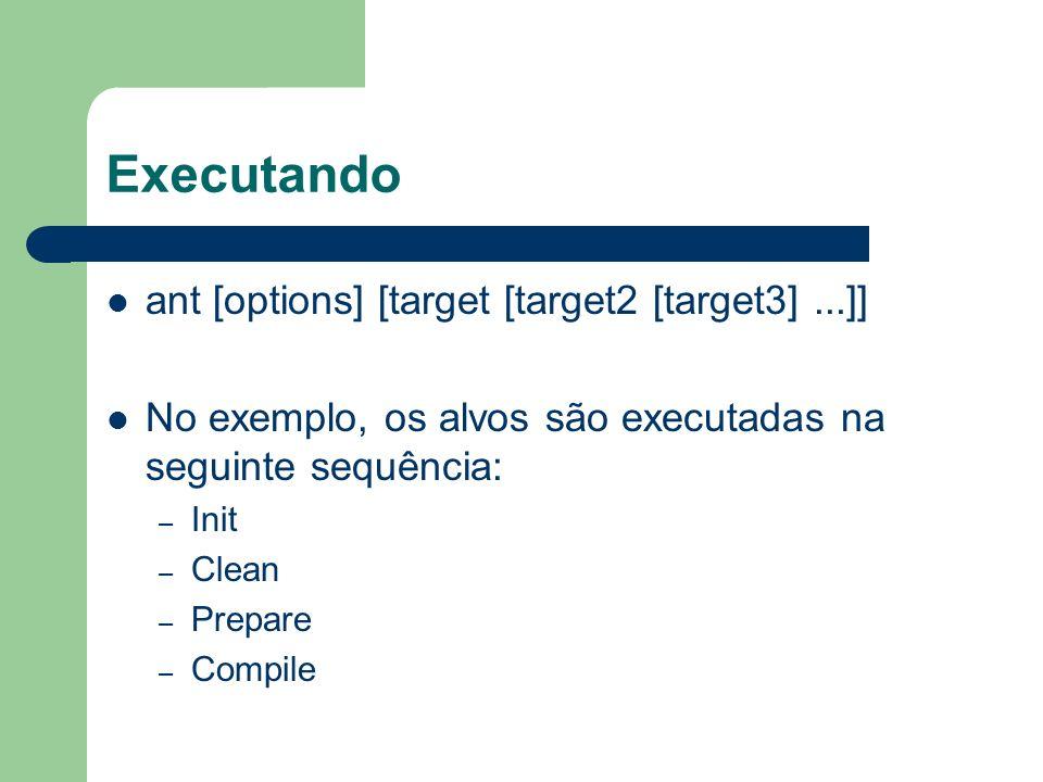 Executando ant [options] [target [target2 [target3]...]] No exemplo, os alvos são executadas na seguinte sequência: – Init – Clean – Prepare – Compile