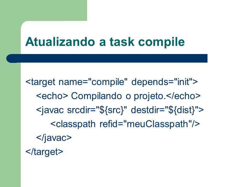 Atualizando a task compile Compilando o projeto.