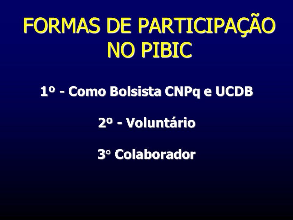 FORMAS DE PARTICIPAÇÃO NO PIBIC 1º - Como Bolsista CNPq e UCDB 2º - Voluntário 3° Colaborador