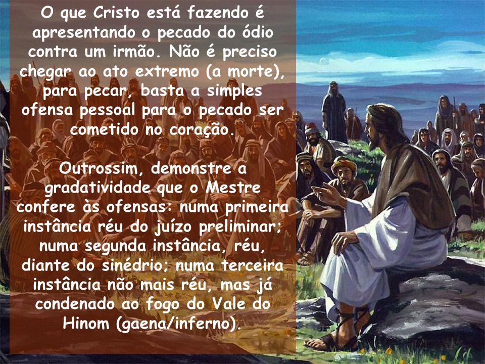 O que Cristo está fazendo é apresentando o pecado do ódio contra um irmão. Não é preciso chegar ao ato extremo (a morte), para pecar, basta a simples