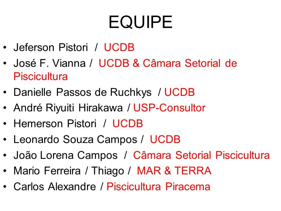 EQUIPE Jeferson Pistori / UCDB José F. Vianna / UCDB & Câmara Setorial de Piscicultura Danielle Passos de Ruchkys / UCDB André Riyuiti Hirakawa / USP-
