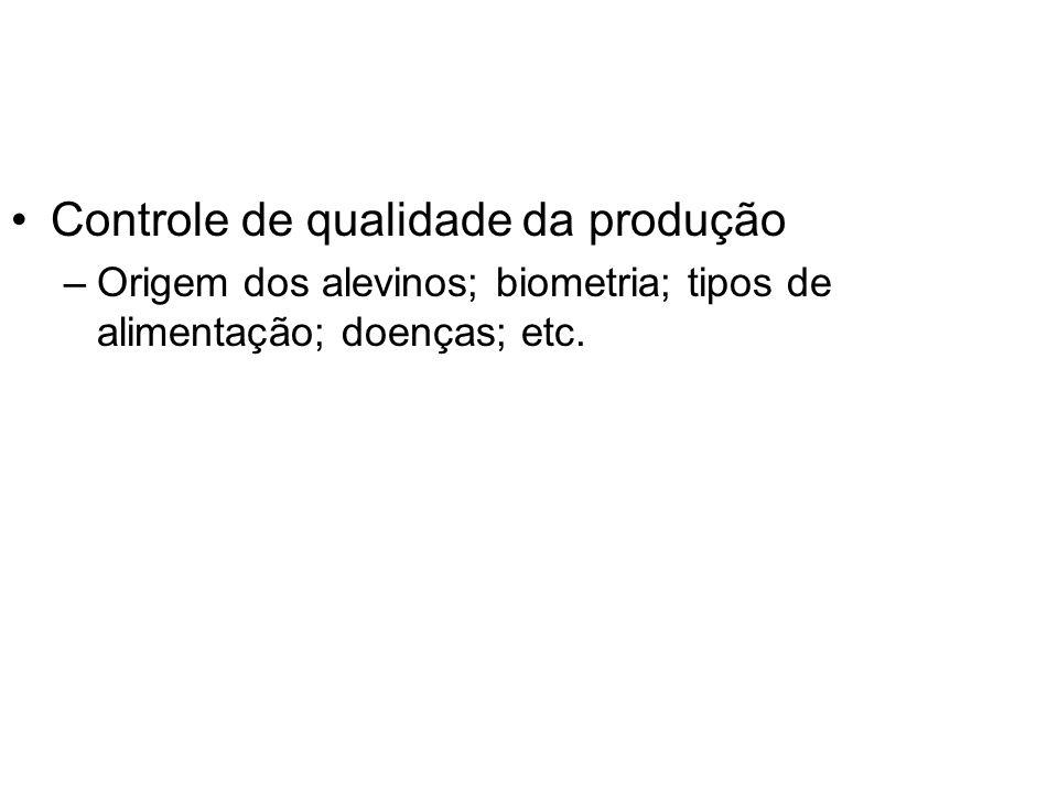 Controle de qualidade da produção –Origem dos alevinos; biometria; tipos de alimentação; doenças; etc.