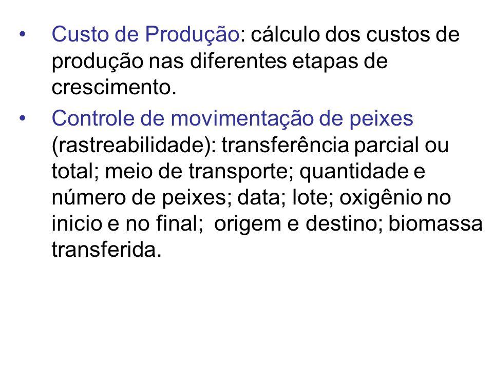 Custo de Produção: cálculo dos custos de produção nas diferentes etapas de crescimento. Controle de movimentação de peixes (rastreabilidade): transfer