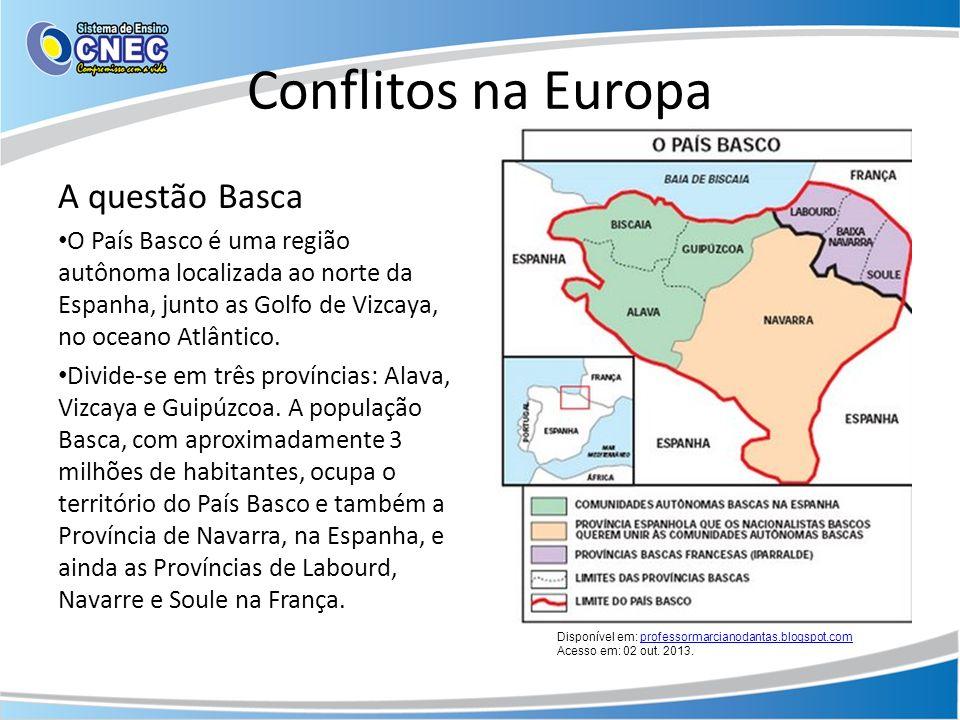 Conflitos na Europa A questão Basca O País Basco é uma região autônoma localizada ao norte da Espanha, junto as Golfo de Vizcaya, no oceano Atlântico.