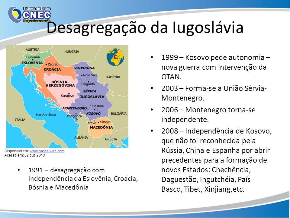 Desagregação da Iugoslávia 1991 – desagregação com independência da Eslovênia, Croácia, Bósnia e Macedônia 1999 – Kosovo pede autonomia – nova guerra