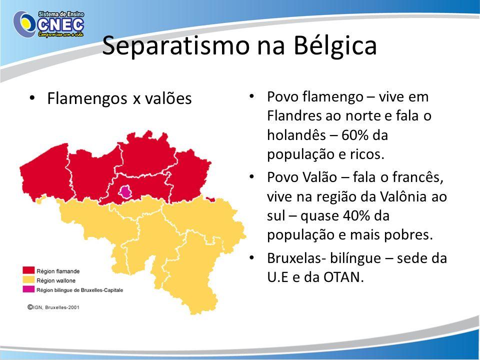 Separatismo na Bélgica Flamengos x valões Povo flamengo – vive em Flandres ao norte e fala o holandês – 60% da população e ricos. Povo Valão – fala o