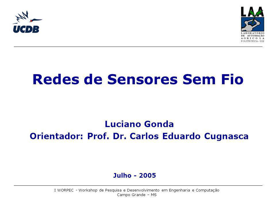 Redes de Sensores Sem Fio Monitoramento de Ambientes I WORPEC - Workshop de Pesquisa e Desenvolvimento em Engenharia e Computação Campo Grande – MS Fonte: Xbow, 2005