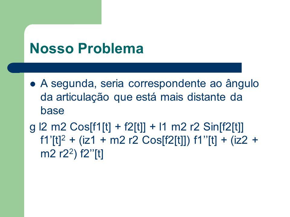 Nosso Problema A segunda, seria correspondente ao ângulo da articulação que está mais distante da base g l2 m2 Cos[f1[t] + f2[t]] + l1 m2 r2 Sin[f2[t]