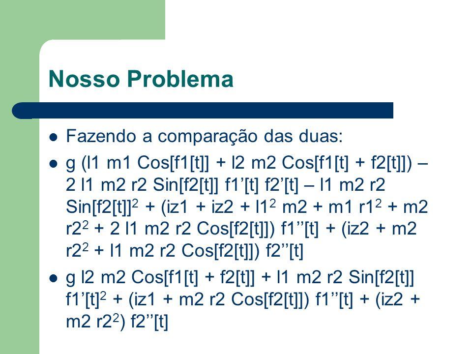 Nosso Problema Fazendo a comparação das duas: g (l1 m1 Cos[f1[t]] + l2 m2 Cos[f1[t] + f2[t]]) – 2 l1 m2 r2 Sin[f2[t]] f1[t] f2[t] – l1 m2 r2 Sin[f2[t]