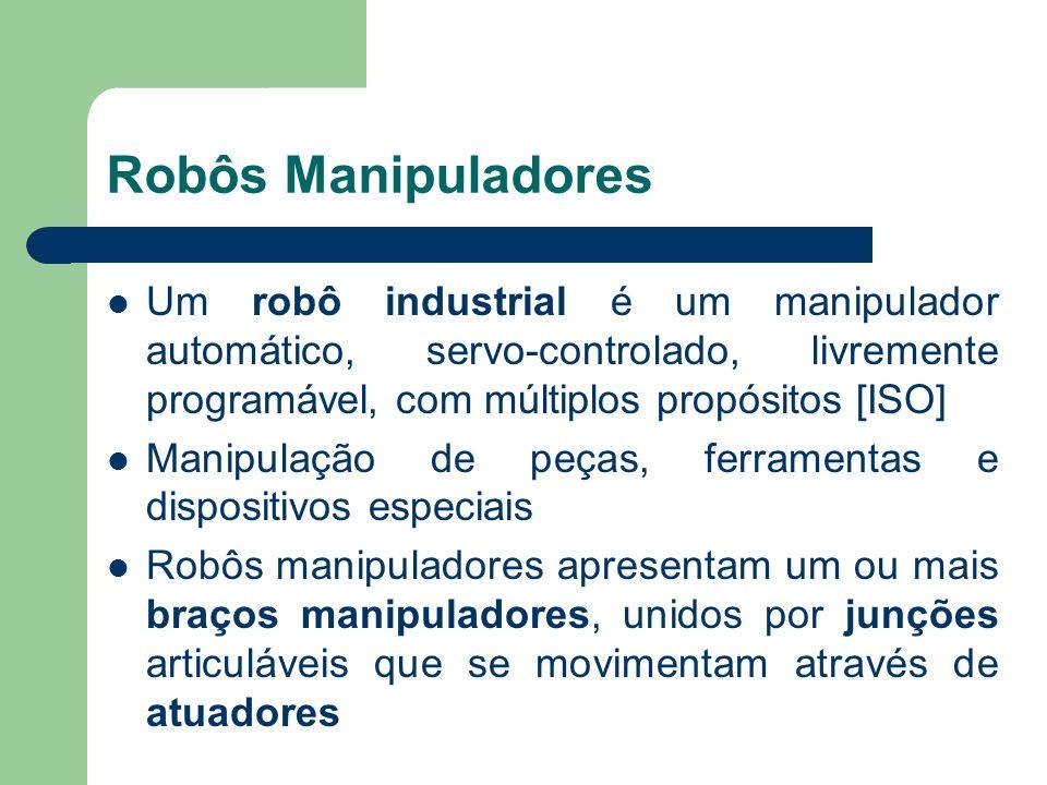 Robôs Manipuladores Um robô industrial é um manipulador automático, servo-controlado, livremente programável, com múltiplos propósitos [ISO] Manipulaç