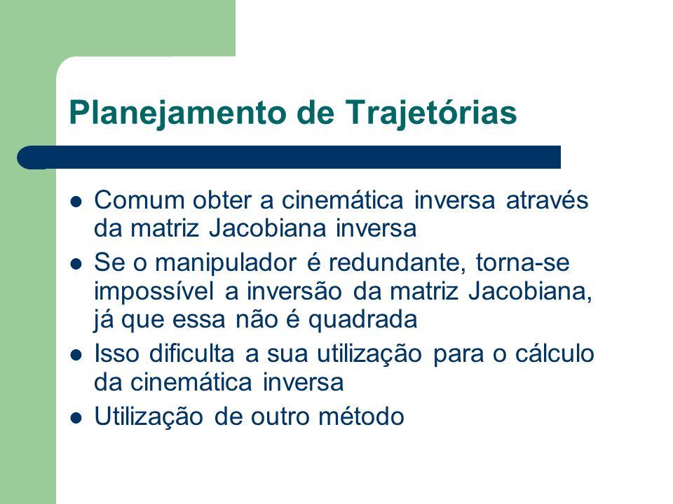 Planejamento de Trajetórias Comum obter a cinemática inversa através da matriz Jacobiana inversa Se o manipulador é redundante, torna-se impossível a