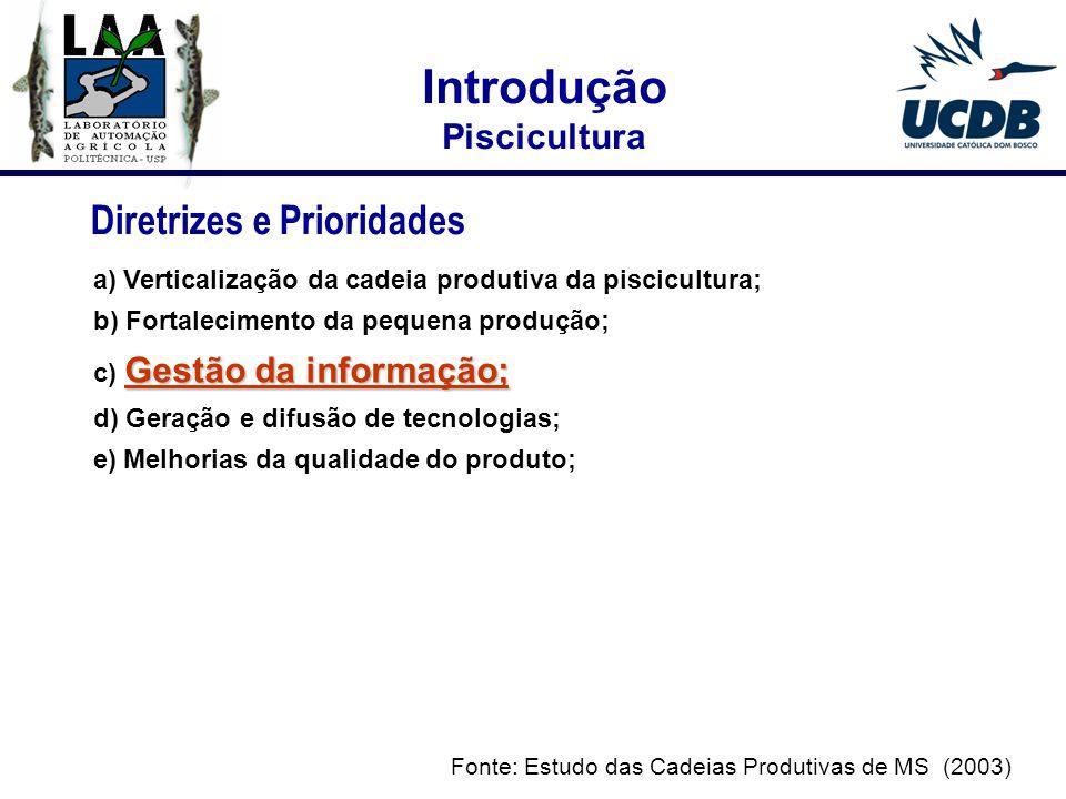 2004 Criação do projeto: INFOPISCI - Desenvolvimento de um Sistema de Informação para Auxiliar no Controle e Apoio à Tomada de Decisão da Cadeia Produtiva da Piscicultura do MS.