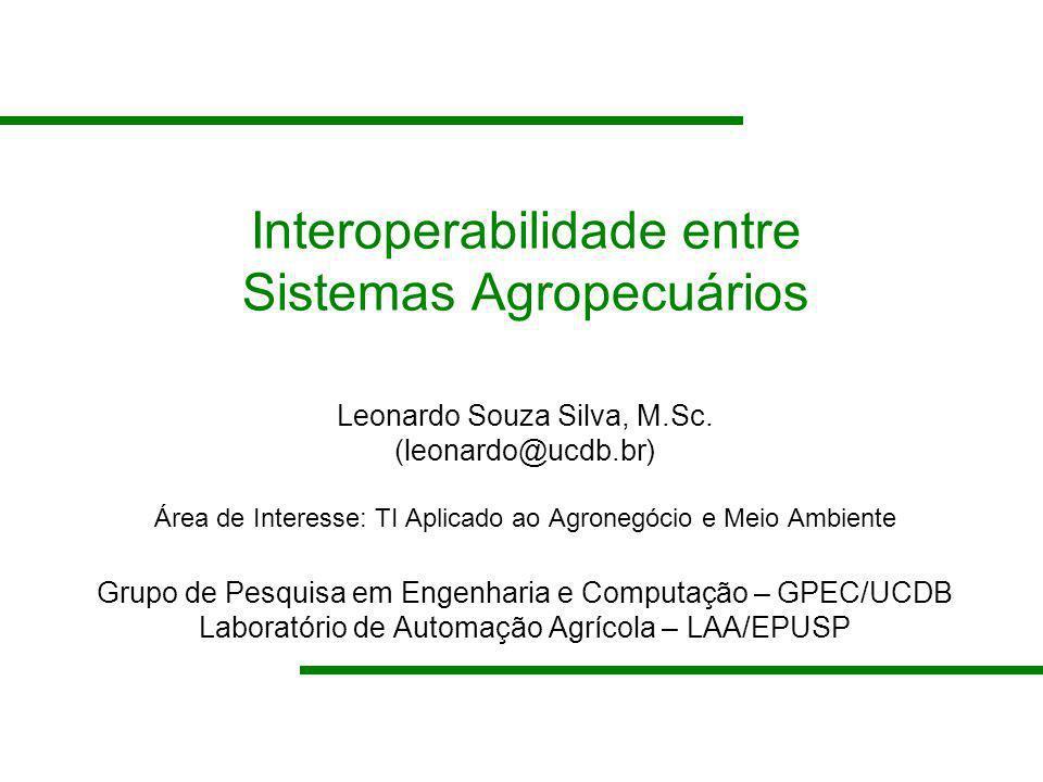 Interoperabilidade entre Sistemas Agropecuários Leonardo Souza Silva, M.Sc. (leonardo@ucdb.br) Área de Interesse: TI Aplicado ao Agronegócio e Meio Am
