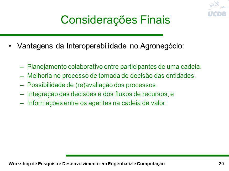 Workshop de Pesquisa e Desenvolvimento em Engenharia e Computação20 Considerações Finais Vantagens da Interoperabilidade no Agronegócio: –Planejamento