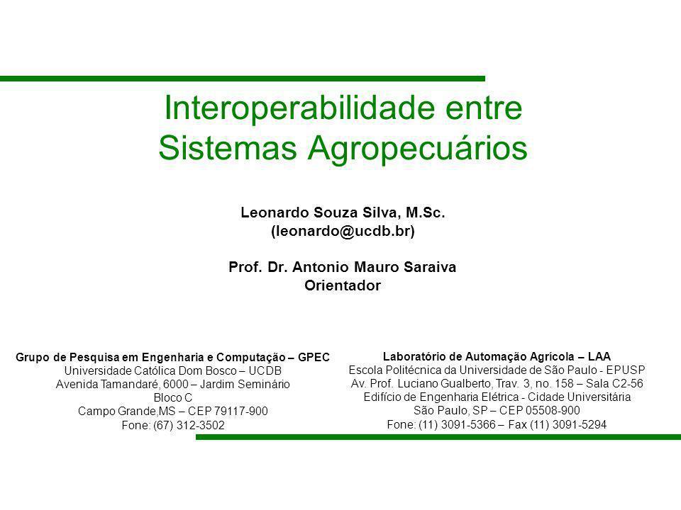 Interoperabilidade entre Sistemas Agropecuários Leonardo Souza Silva, M.Sc. (leonardo@ucdb.br) Prof. Dr. Antonio Mauro Saraiva Orientador Grupo de Pes