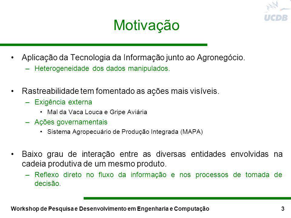 Workshop de Pesquisa e Desenvolvimento em Engenharia e Computação3 Motivação Aplicação da Tecnologia da Informação junto ao Agronegócio. –Heterogeneid