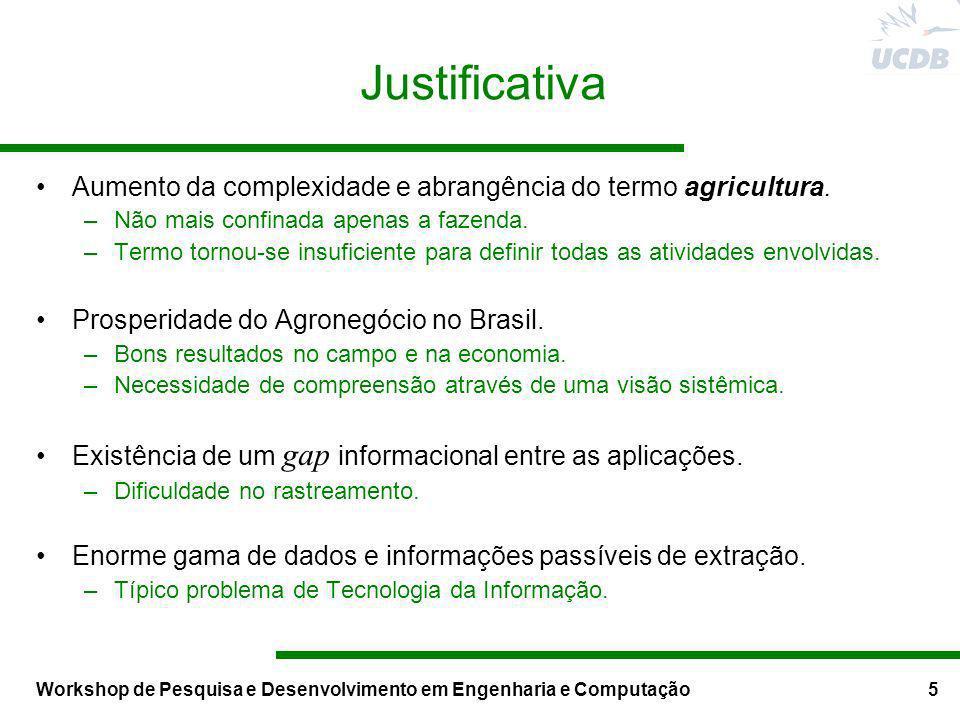 Workshop de Pesquisa e Desenvolvimento em Engenharia e Computação5 Justificativa Aumento da complexidade e abrangência do termo agricultura. –Não mais