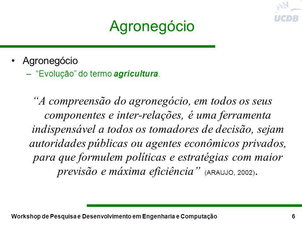 Workshop de Pesquisa e Desenvolvimento em Engenharia e Computação6 Agronegócio –Evolução do termo agricultura. A compreensão do agronegócio, em todos