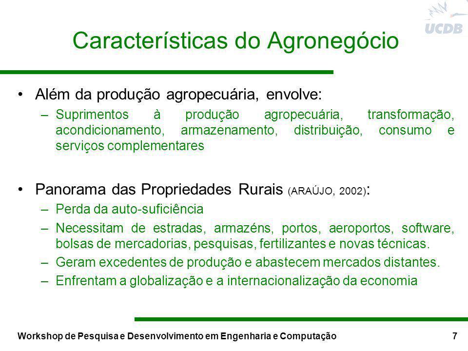 Workshop de Pesquisa e Desenvolvimento em Engenharia e Computação7 Características do Agronegócio Além da produção agropecuária, envolve: –Suprimentos