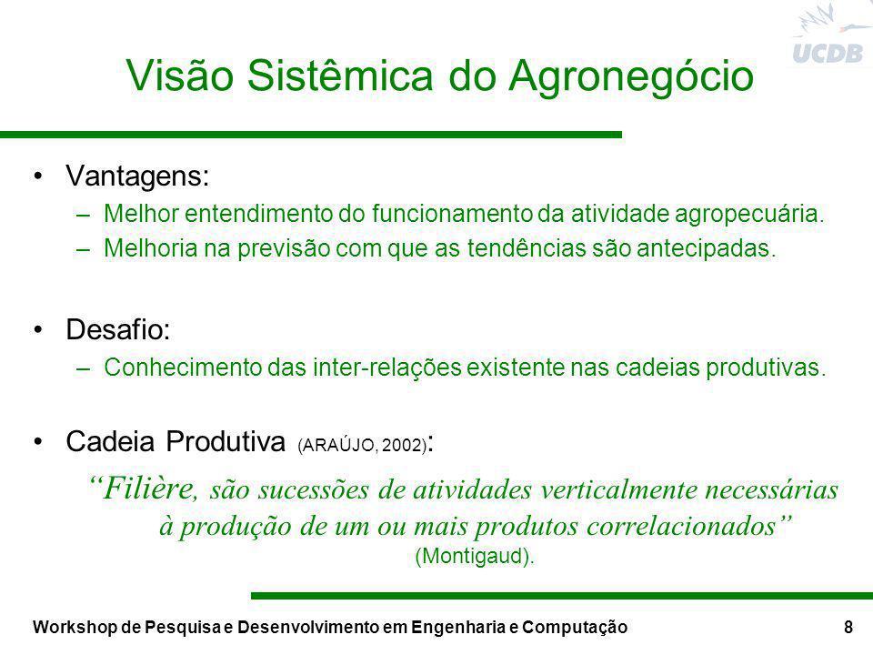 Workshop de Pesquisa e Desenvolvimento em Engenharia e Computação8 Visão Sistêmica do Agronegócio Vantagens: –Melhor entendimento do funcionamento da