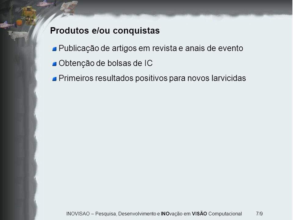 INOVISAO – Pesquisa, Desenvolvimento e INOvação em VISÃO Computacional 7/9 Produtos e/ou conquistas Publicação de artigos em revista e anais de evento