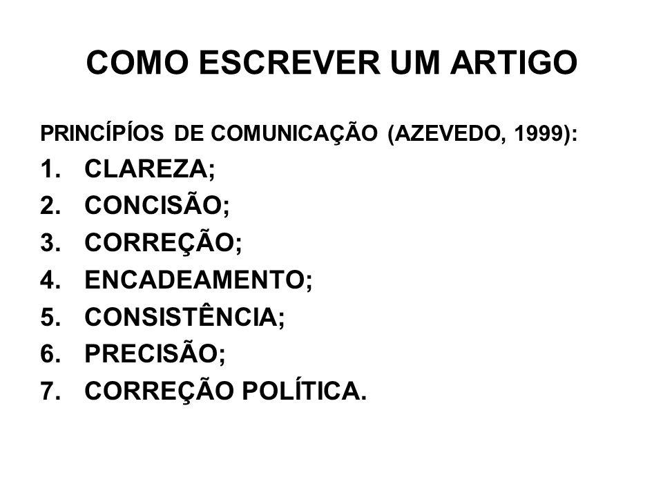 COMO ESCREVER UM ARTIGO PRINCÍPÍOS DE COMUNICAÇÃO (AZEVEDO, 1999): 1.CLAREZA; 2.CONCISÃO; 3.CORREÇÃO; 4.ENCADEAMENTO; 5.CONSISTÊNCIA; 6.PRECISÃO; 7.CO