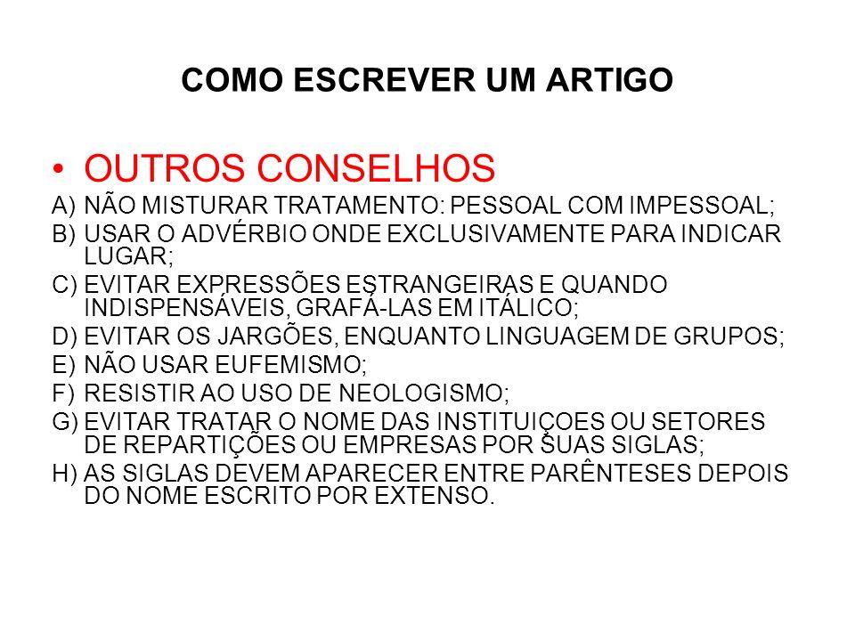 ARTIGO TÉCNICO- CIENTÍFICO: ESTRUTURA DE VANCOUVER TÍTULO (SUBTÍTULO) AUTOR(S) CRÉDITO DO(S) AUTOR(ES) SINÓPSE OU RESUMO KEY WORDS >INTRODUÇÃO 1.REFERENCIAL TEÓRICO OU REVISÃO DA LITERATURA 2.CASUÍSTICA 3.METODOLOGIA E MATERIAIS (OU DESCRIÇÃO DE AMBIENTE) 4.APRESENTAÇÃO DOS RESULTADOS 5.DISCUSSÃO = ANÁLISE E INTERPRETAÇÃO DOS RESULTADOS 6.RECOMENDAÇÕES E SUGESTÕES >CONCLUSÃO >REFERÊNCIAS