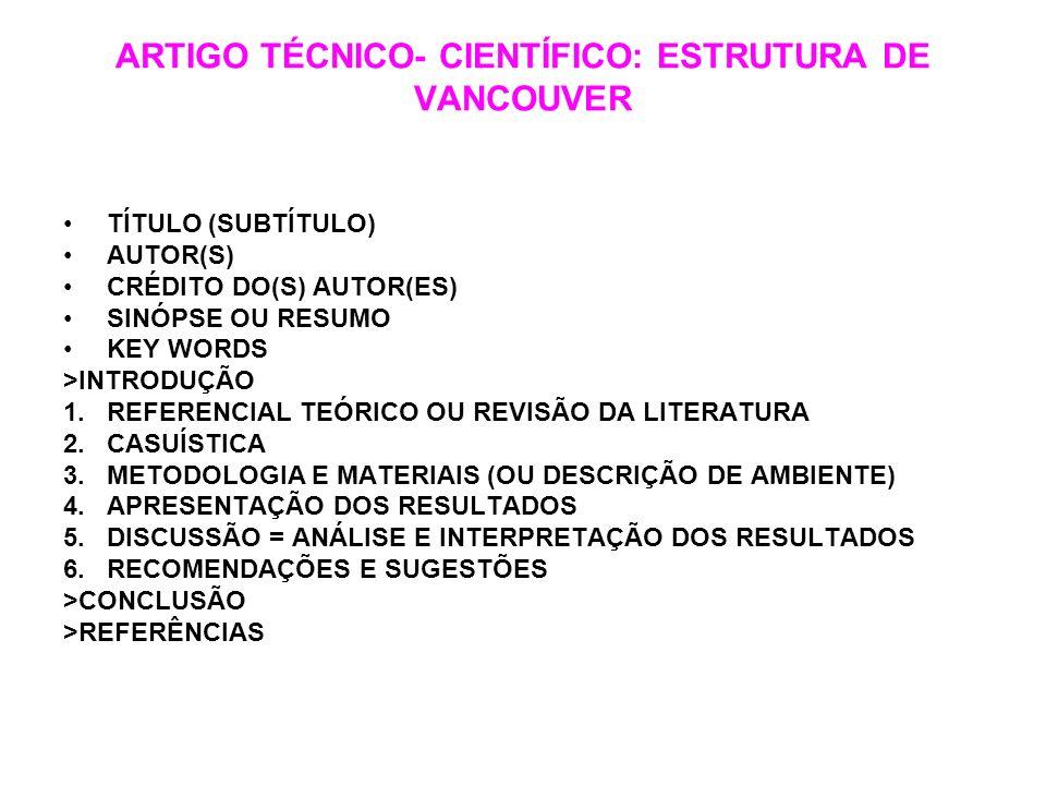 ARTIGO TÉCNICO- CIENTÍFICO: ESTRUTURA DE VANCOUVER TÍTULO (SUBTÍTULO) AUTOR(S) CRÉDITO DO(S) AUTOR(ES) SINÓPSE OU RESUMO KEY WORDS >INTRODUÇÃO 1.REFER