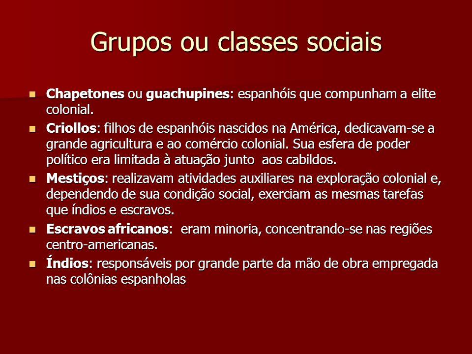 Grupos ou classes sociais Chapetones ou guachupines: espanhóis que compunham a elite colonial. Chapetones ou guachupines: espanhóis que compunham a el