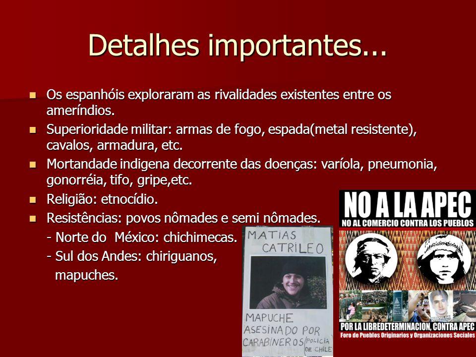 Detalhes importantes... Os espanhóis exploraram as rivalidades existentes entre os ameríndios. Os espanhóis exploraram as rivalidades existentes entre