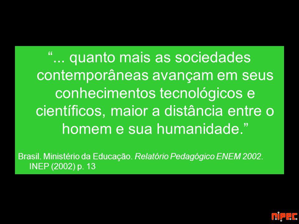 ... quanto mais as sociedades contemporâneas avançam em seus conhecimentos tecnológicos e científicos, maior a distância entre o homem e sua humanidad