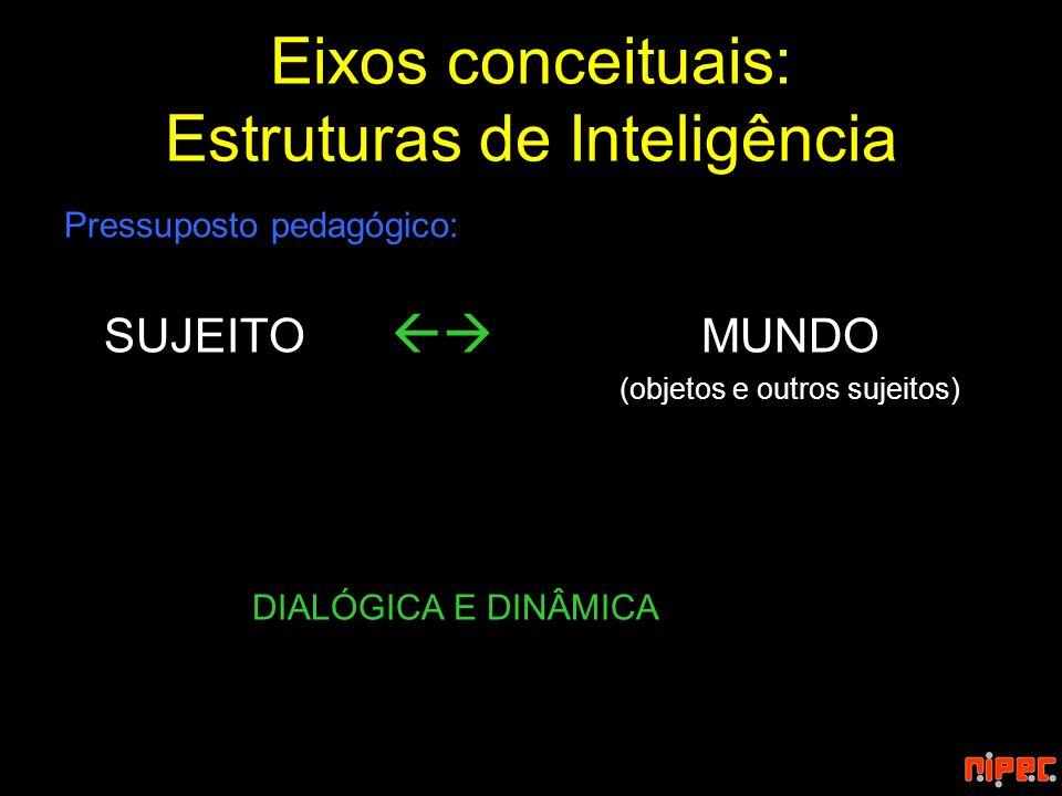 Eixos conceituais: Estruturas de Inteligência Pressuposto pedagógico: SUJEITO MUNDO (objetos e outros sujeitos) DIALÓGICA E DINÂMICA