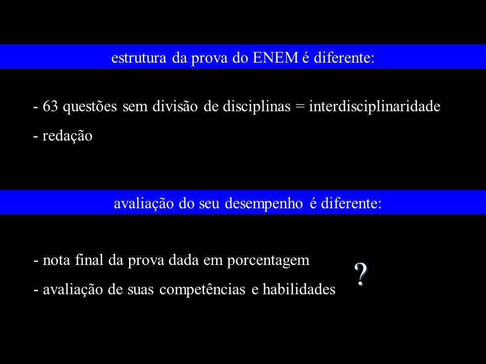estrutura da prova do ENEM é diferente: - 63 questões sem divisão de disciplinas = interdisciplinaridade - redação avaliação do seu desempenho é difer