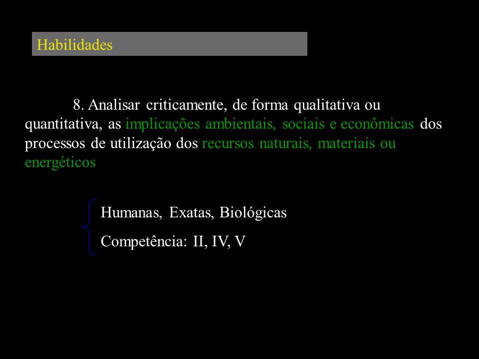 Habilidades 8. Analisar criticamente, de forma qualitativa ou quantitativa, as implicações ambientais, sociais e econômicas dos processos de utilizaçã