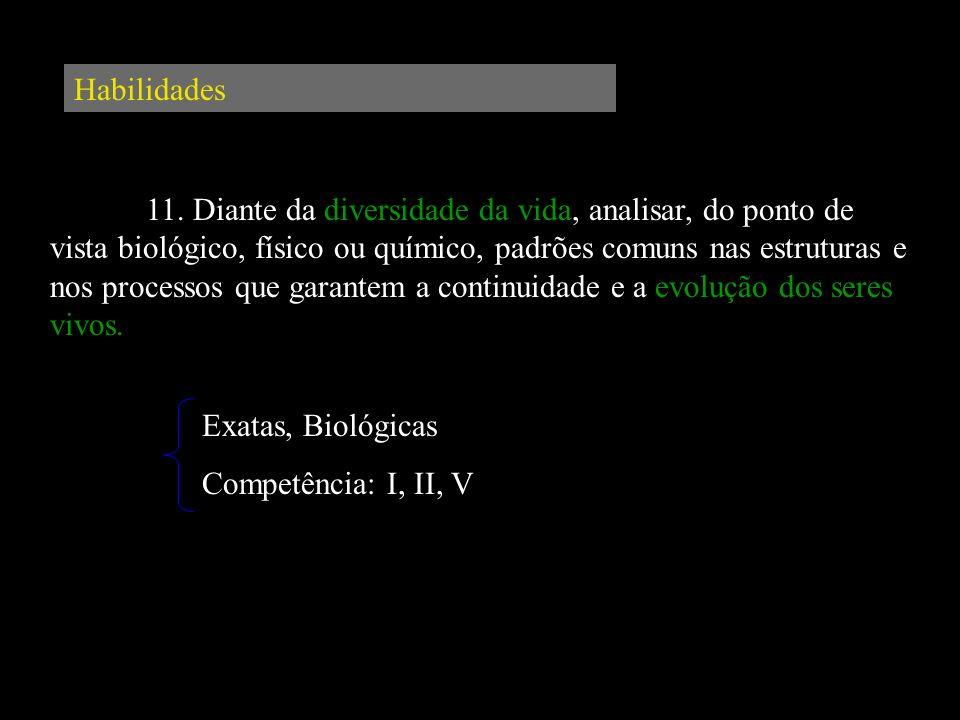 Habilidades 11. Diante da diversidade da vida, analisar, do ponto de vista biológico, físico ou químico, padrões comuns nas estruturas e nos processos