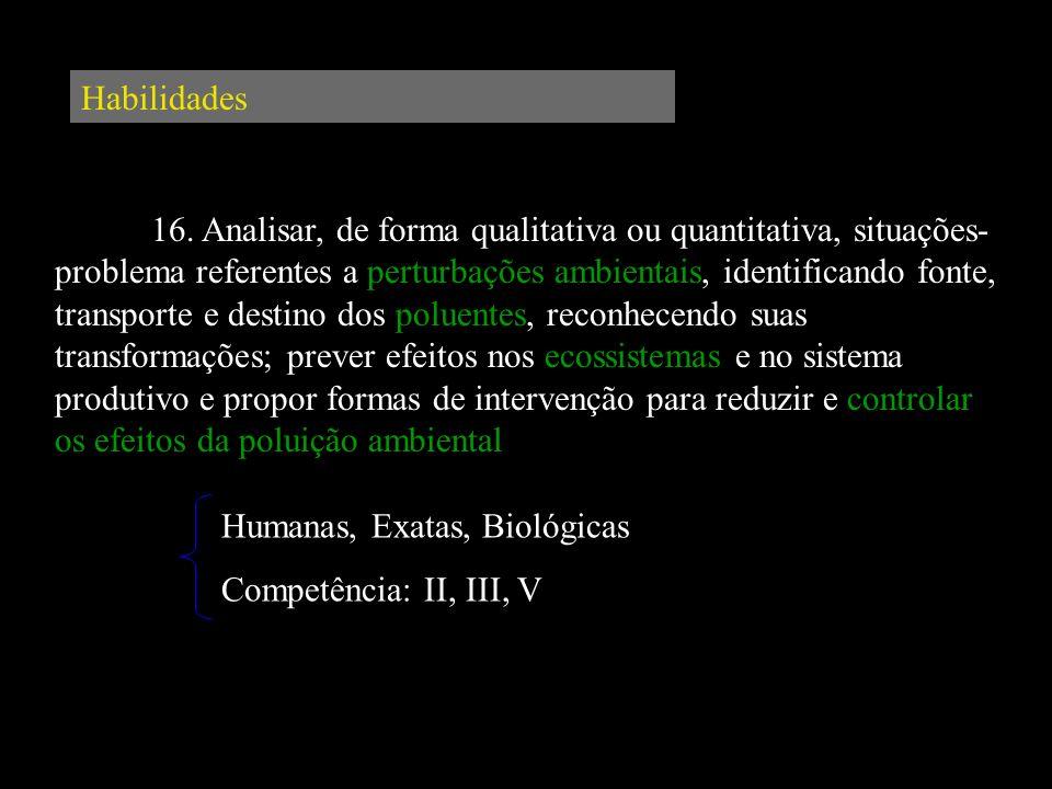 Habilidades 16. Analisar, de forma qualitativa ou quantitativa, situações- problema referentes a perturbações ambientais, identificando fonte, transpo